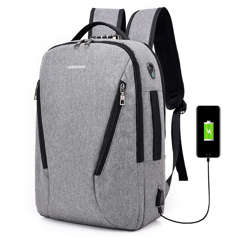 Men Canvas Backpack Anti-theft <font><b>Password</b></font> lock USB Charging School Bags for Teenage Earphone Hole Laptop Backpack Mochila XA85WC