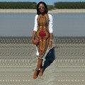 Snkara Африканской Печати Платья Для Женщин 2016 Лето С Длинным Рукавом Винтаж Эластичный Этническая Отпечатано Колен Лето Dress Vestidos