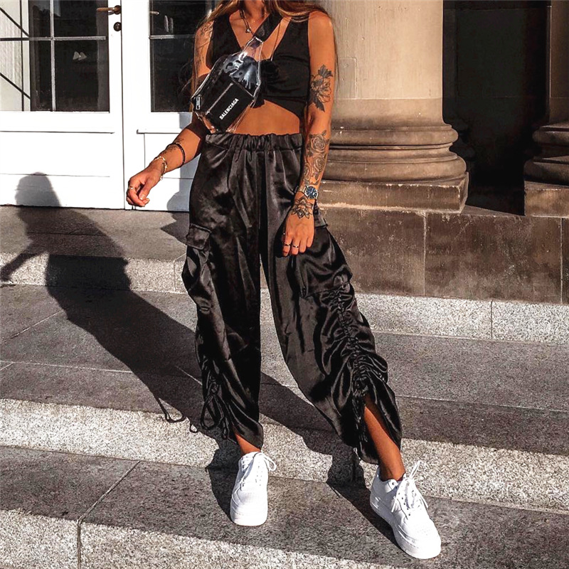 BKLD Streetwear Cargo   Pants   Women Casual Black Satin High Waist   Wide     Leg     Pants   Loose Female Trousers Side Pleated Ladies   Pants