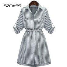 Szmxss осень Для женщин maix платье Леди с длинным рукавом в полоску Bodycon Платья для вечеринок Хлопковые Смеси плюс Размеры Vestidos Повседневное Винтаж