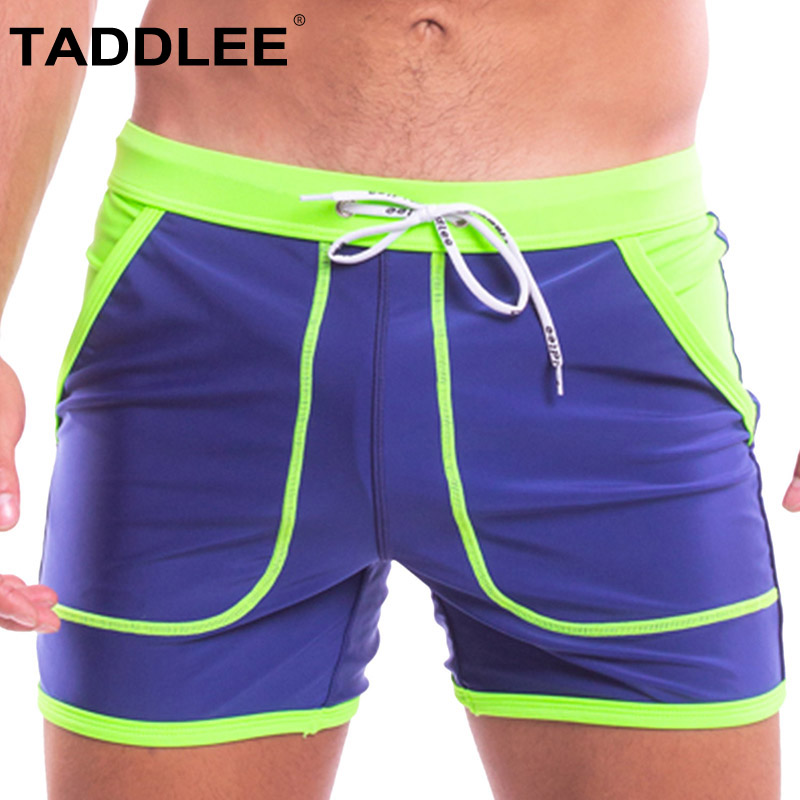 Taddlee Brand Sexy Swimwear Men Swimsuits Swim Boxer Briefs Surfing Boardshorts Man Quick Drying Shorts Solid