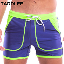 Taddlee Brand Sexy Swimwear Men Swimsuits Swim Boxer Briefs Surfing Boardshorts Man Quick Drying Shorts Solid Color Tunks Pocket