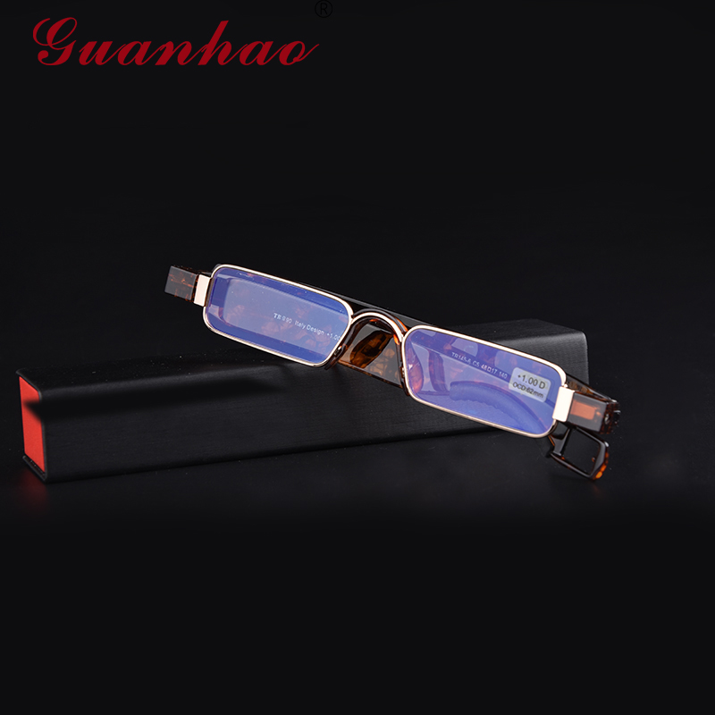 Guanhao Aniti Bue Light Ray Folding Reading Glasses Men Women Rotating Diopter Optical Computer Glasses Spectacles Oculos 1.5