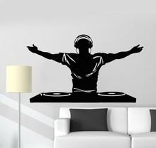 ויניל קיר מדבקות DJ מוסיקה דיסקו אוזניות בר מועדון לילה מדבקת קיר פוסטר בית אמנות עיצוב קישוט 2YY9