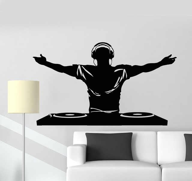 Vinyl Wall Decal DJ Music Disco Headphone Bar Nightclub Sticker Mural Poster Home Art Design Decoration 2YY9