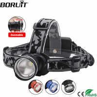 BORUIT RJ-2190 3-Mode T6 LED phare Zoomable phare 18650 batterie lampe de poche étanche Camping pêche tête torche