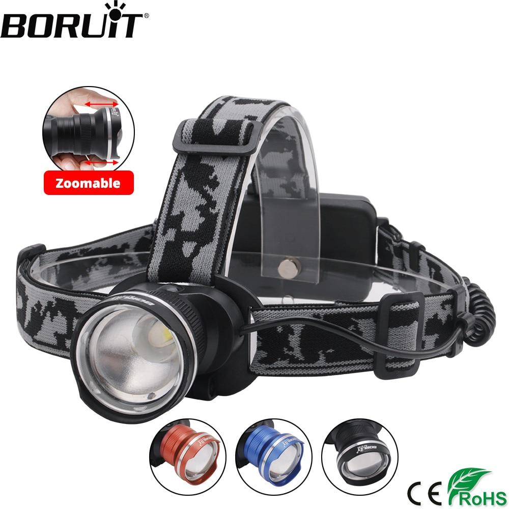 BORUIT RJ-2190 3-Modus T6 LED Scheinwerfer Zoombare Scheinwerfer 18650 Batterie Taschenlampe Wasserdichte Camping Angeln Kopf Taschenlampe