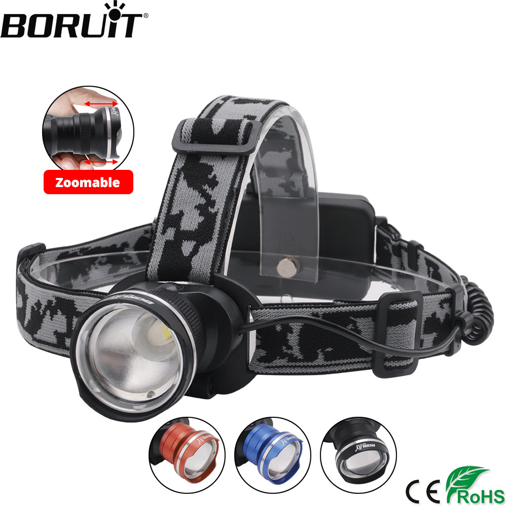 BORUIT RJ-2190 T6 LED Headlamp Zoom 3-Mode Headlight 18650 Battery Flashlight Waterproof For Camping Fishing Head Torch