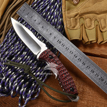 WTT Red G10 Handle Fixed Hunting Knife With D2 Blade Tactical Camping Combat EDC Knives Utility Survival Pocket Outdoor Tools