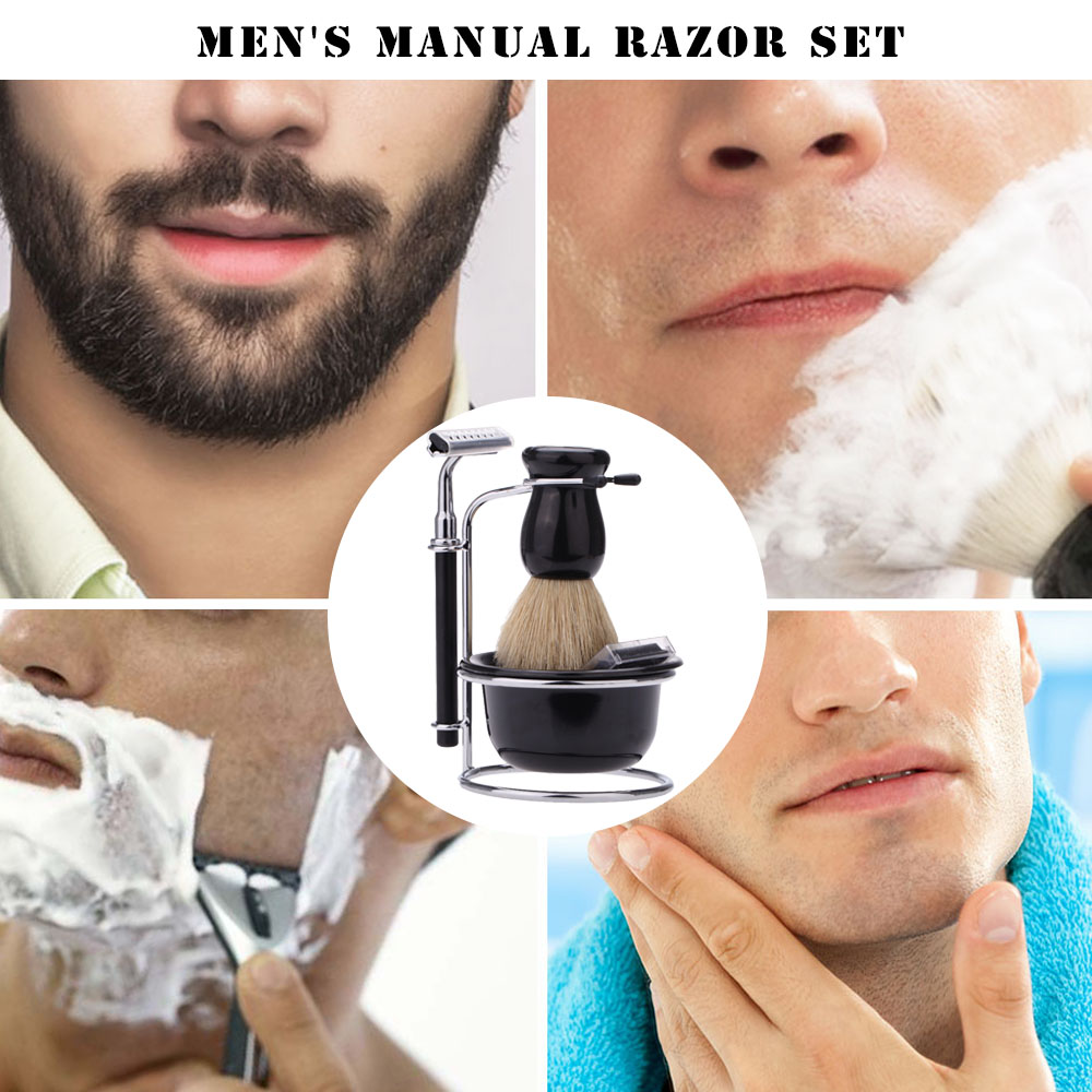 4 In 1 Men's Manual Razor Set Beard Razor Male Facial Cleaning Tool Shaving Brush Bowl Stainess Steel Stand Holder 5 Blades Wet