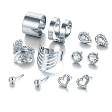 New 8 Pcs/ Set Gold Silver Crystal Heart Earrings for Women Feather Water Drop Leaf Rings Engagement Jewelry Sets Gift