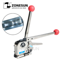ZONESUN Manual Buckle Free Steel Belt Strapping Machine Seamless Strapping Tool For width 16/19/25mm thickness 0.55 0.75mm