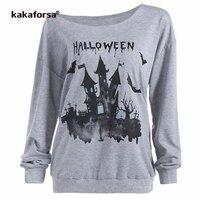 Kakaforsa Halloween T Shirt Women Long Sleeve Print Funny T Shirts Slash Neck Graphic Tees Casual