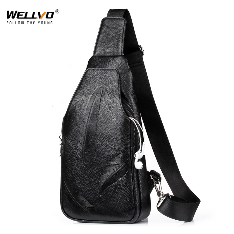 PU Leather Chest Bag for Men Feather design Crossbody Shoulder Strap pack Messenger for Short Trip Earphone hole Black XA141WC