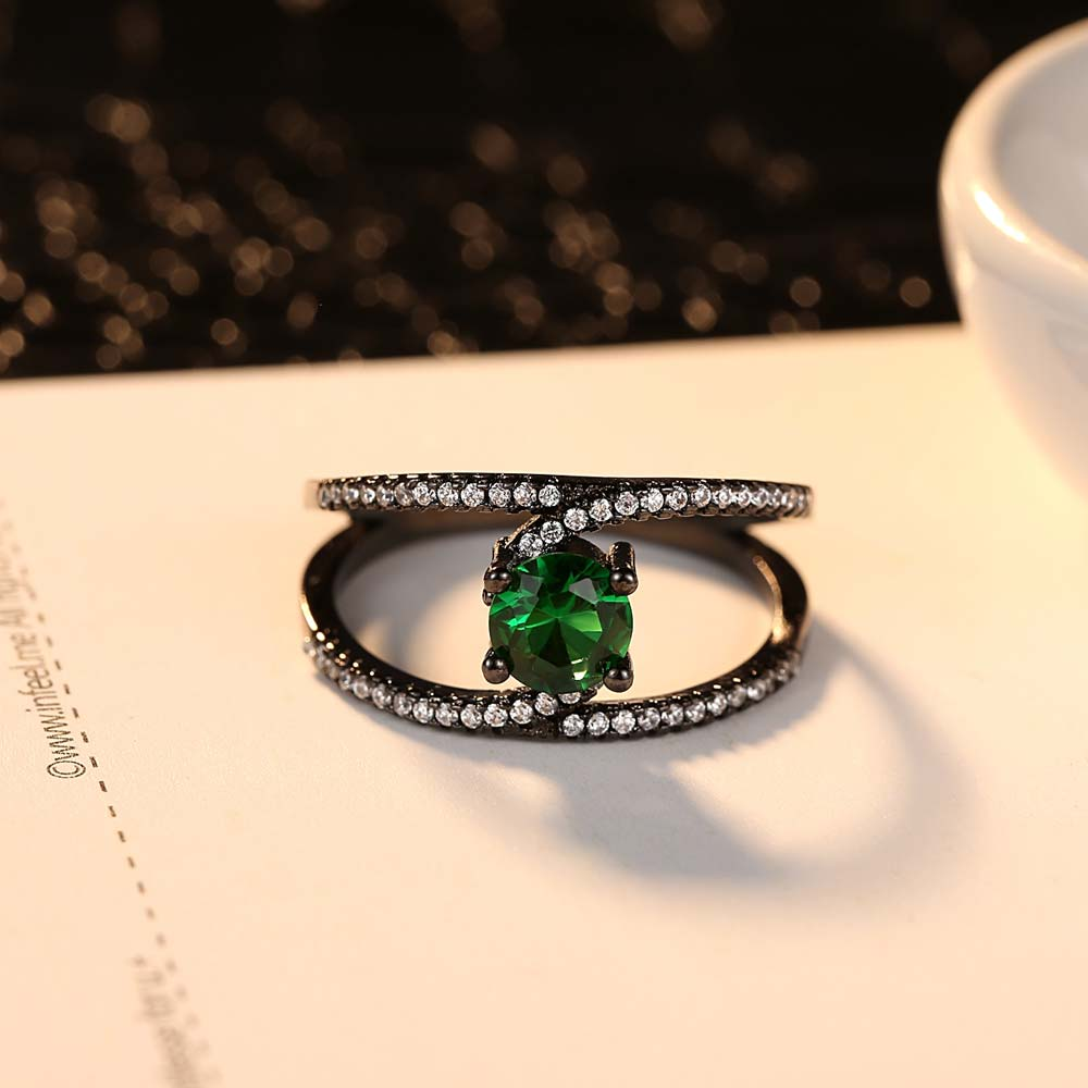 Wholesale pcs lot New Created Crystal Ring for Women Green Crystal Charm