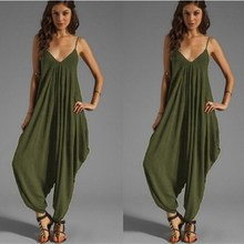 Casual Spaghetti Strap Jumpsuit Women Solid Backless Overalls Sleeveless V-Neck Loose Playsuit