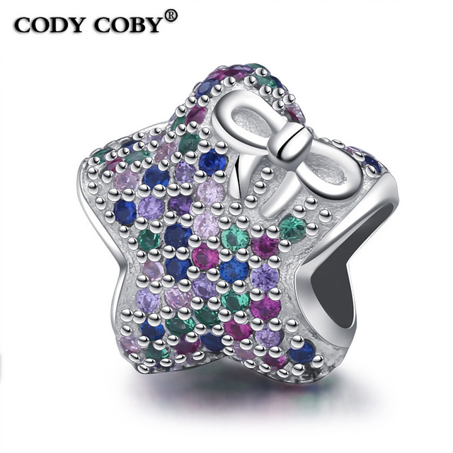 925 Sterling Silver Star Bow Charm Pave Mix Color Crystal Beads Fit Pandora  Bracelet For Women f03bf5320b28