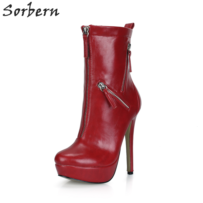 Women Fashion Boots PU High Thin Heels Zipper Ladies Party Boots Zapatos Mujer Ankle Boots For Women Chaussures Femme Hot Sale fashion sorbern women boots high thin metal heels pointed toe zipper ladies party boots boots women zapatos mujer hot sale