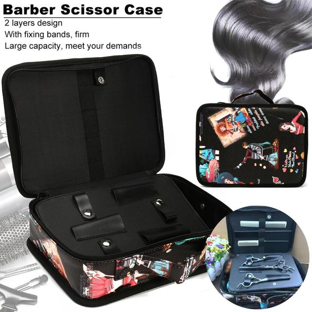 Colorful Pu Leather Barber Bag Salon Hair Scissors Comb Dryer Styling Tool Hairdressing Case Holder