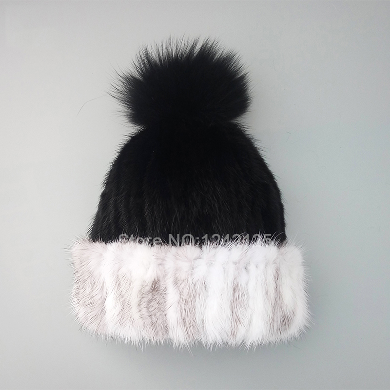 Winter girl children boy real Mink weave fur hat warm genuine wool knitting lining fox fur pompom Elastic natural mink fur hatsWinter girl children boy real Mink weave fur hat warm genuine wool knitting lining fox fur pompom Elastic natural mink fur hats
