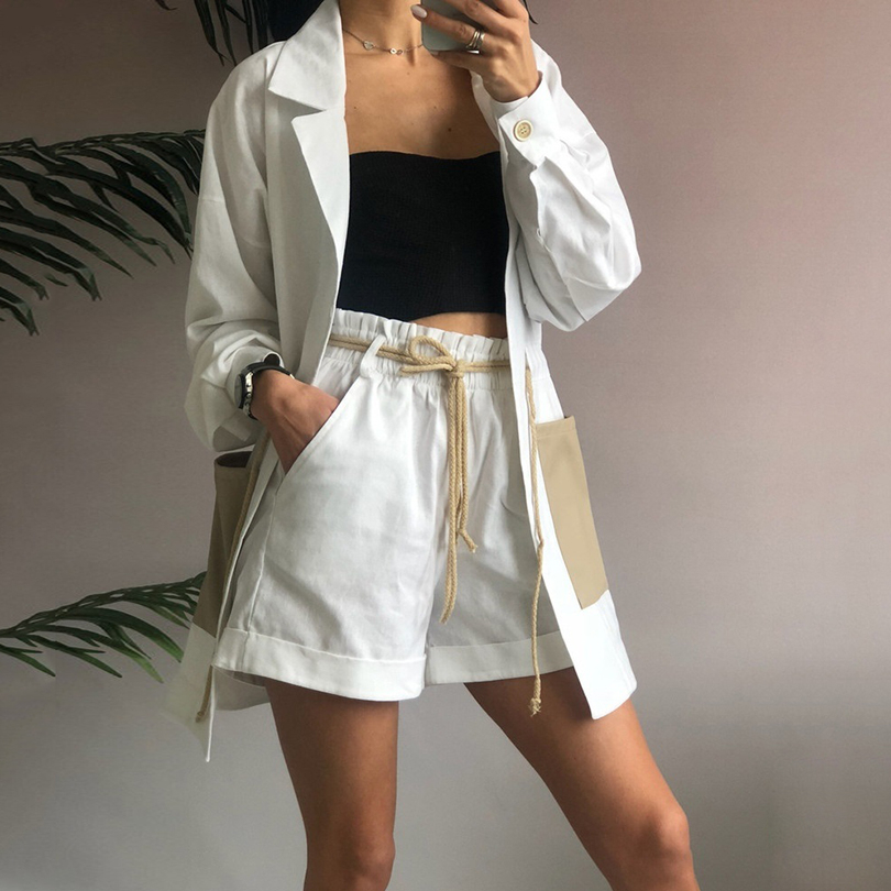 Taotrees Summer Women Two Piece Set String Waisted Long Jacket + Shorts Female Casual Suit Set Women's 2 Piece Set