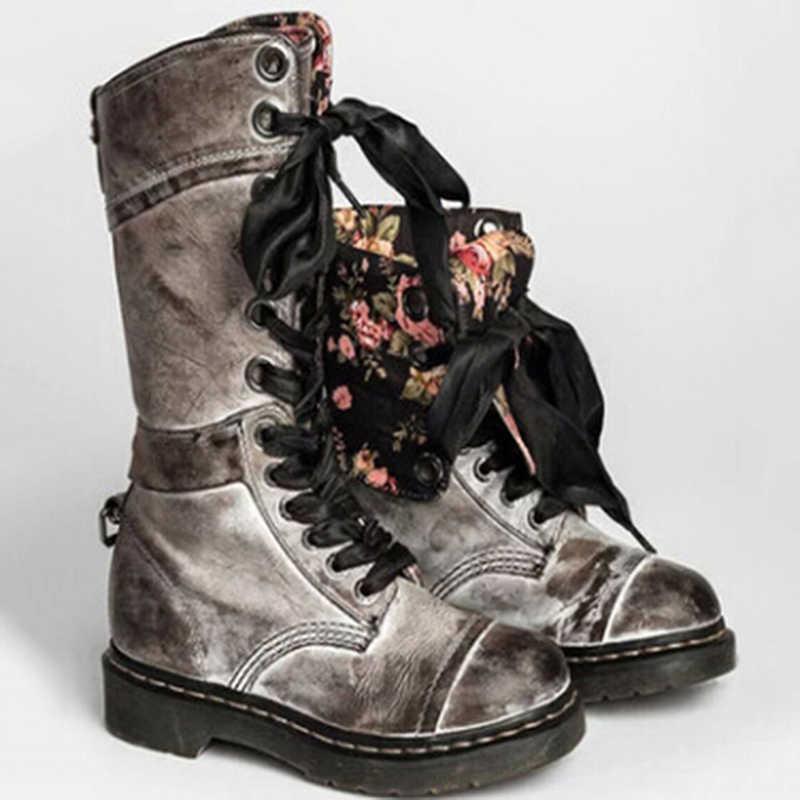 DIJIGIRLS deri çizmeler kadın uzun çizmeler dantel kadar sonbahar ve kış Botas artı boyutu 35-43 zapatos de mujer