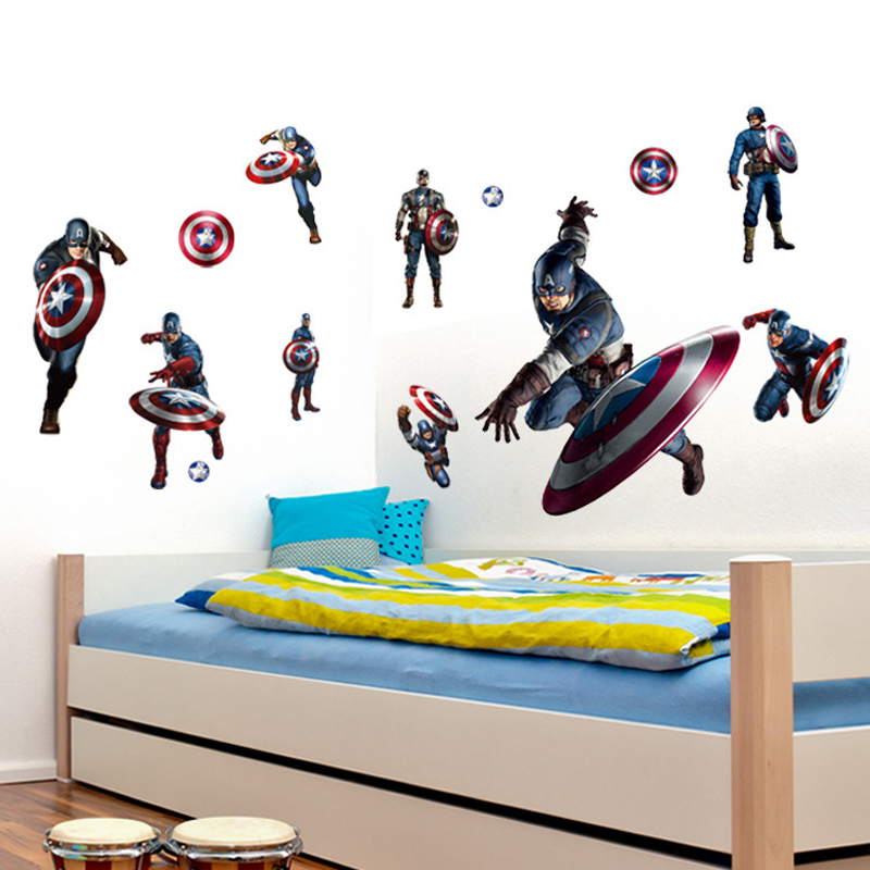 Superhero Wall Sticker Captain America Vinyl Decal Avengers Wall - Vinyl wall decals avengers