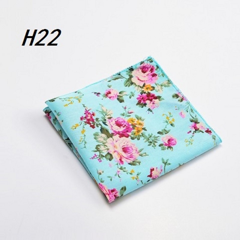 Ikepeibao New Men's Green Flower Pocket Square Handkerchiefs Paisley Floral Cotton Hankies 22*22cm