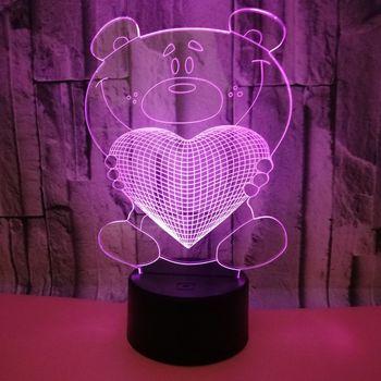 사랑 곰 다채로운 3d 램프 led 아크릴 비주얼 스테레오 터치 usb 3d 테이블 램프 침실 크리스마스 장식 조명