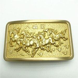 Image 2 - Pure Copper Vintage Antique Belt Buckle 8 Horses Western Cowboy Mens Fashion Fine Accessory