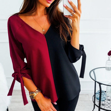 Women 3/4 Sleeve Contrast Casual Patchwork Blouses Ladies Bow Daily V Neck Loose Tops Women's Comfortable Fashion New Hot