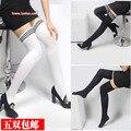 O envio gratuito de Outono no Departamento de meias brancas joelho meias seção de espessura na altura do joelho meias altas meias de veludo feminino garte