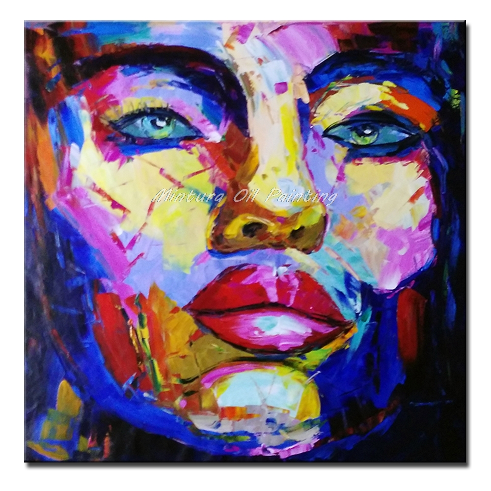 Mintura Art Hand Painted Knife Face Oil Painting on Canvas Abstract Figure Pictures Wall Paintings For Living Room Wall Decor