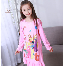 Disney Big Girl Nightdress New 2018 Fashion Princess Cartoon Long Kids Sleep Dress Cotton Children Nightgowns short Girl Gift