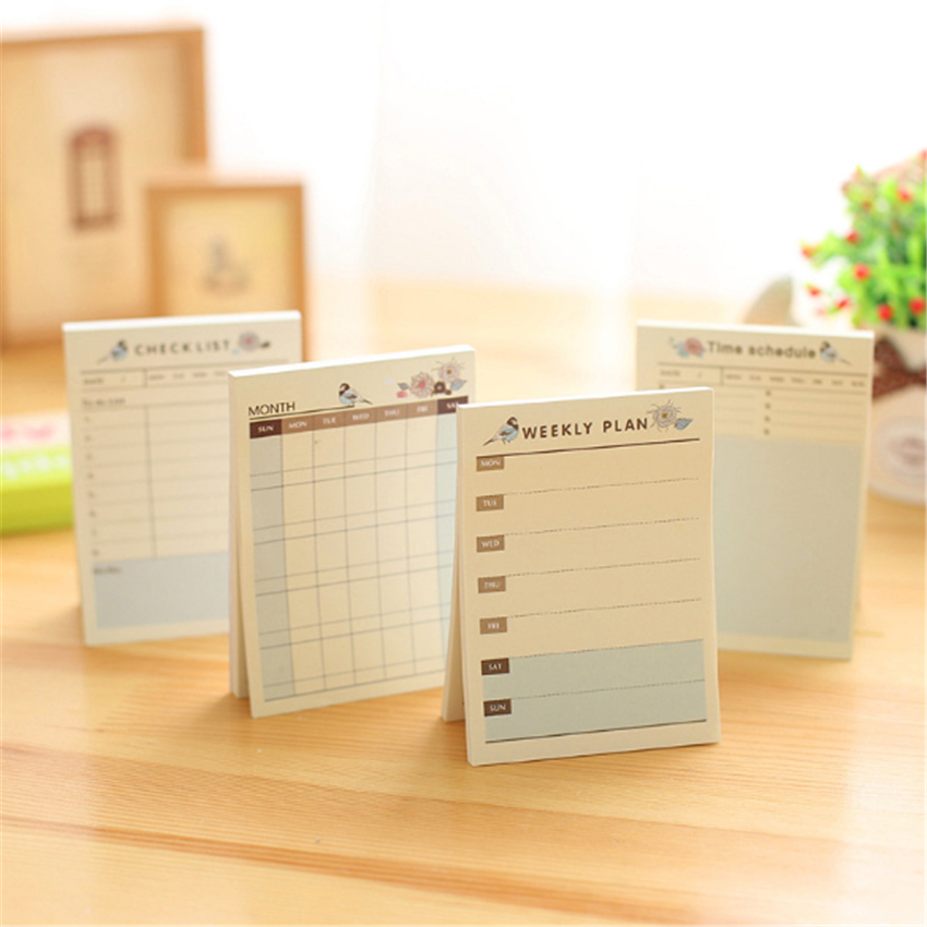 1pcs/lot Mini Schedule Plan Book Stationery Memo Sticky Removable Paper Pad Reminder Label For School And Office