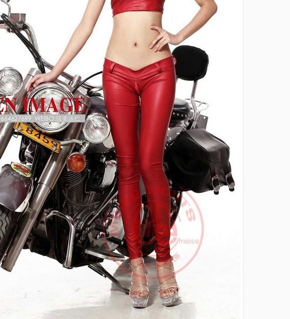 Látex Sexy Hot Calças Lápis Matte Red Sexy de Couro Falso Cintura baixa Calças Virilha Zíper Detalhe Fino Moda Clube de Dança desgaste
