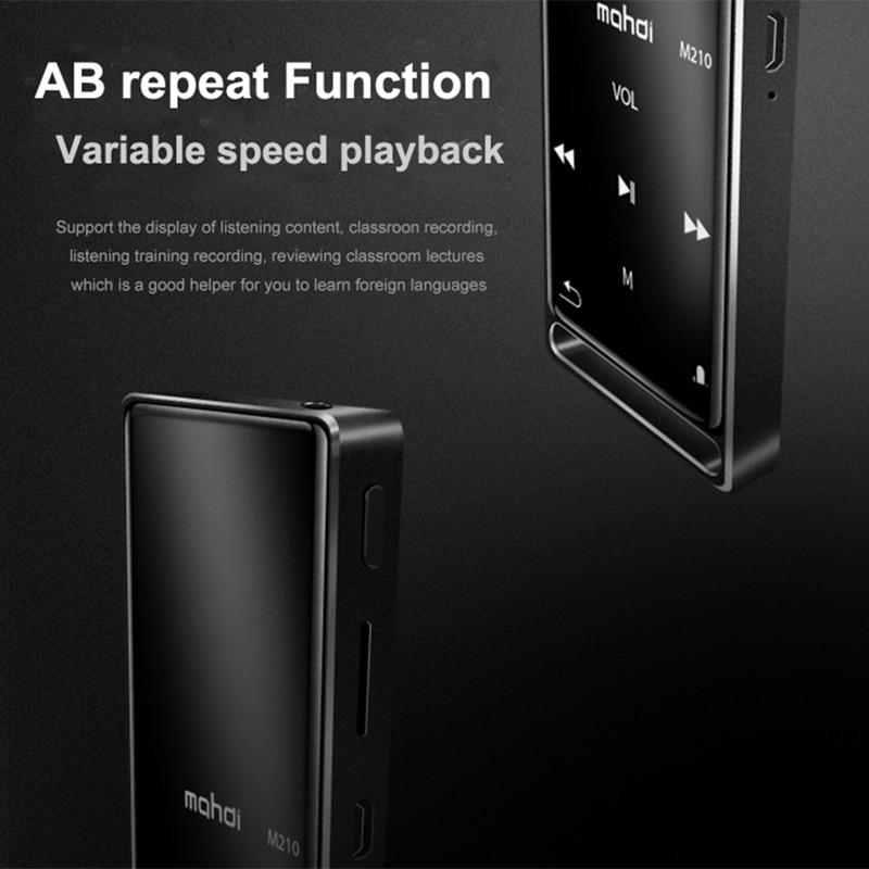 Mahdi M210 lecteur Mp3 Bluetooth ecran tactile 1.8 pouces Portable sport USB HD HIFI lecteur de musique 16 GB Support TF carte Ultra-mince - 5