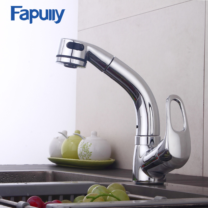 Fapully Chrome Kitchen Faucet Pull Out Cold and Hot Mixer Tap Single Hole Ceramic Valve Deck Mount Swivel Spout Faucets 546-33C micoe hot and cold water basin faucet mixer single handle single hole modern style chrome tap square multi function m hc203