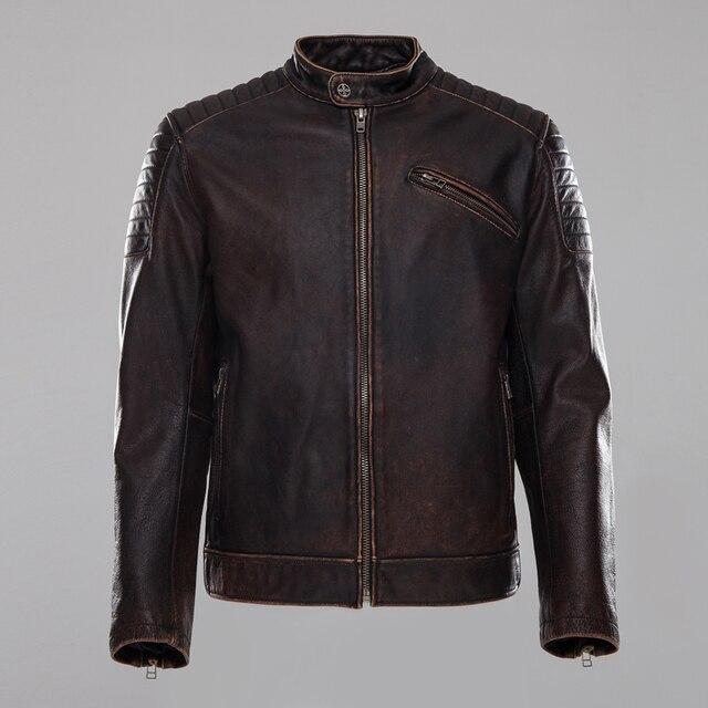 2018 Men Vintage Brown Genuine Leather Motorcycle Jacket Real ...