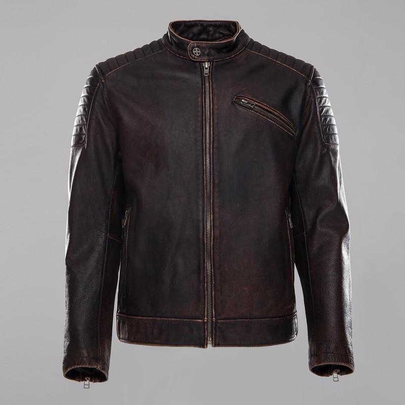 2018 Männer Vintage Braun Aus Echtem Leder Motorradjacke Echt Thick Rindsleder Kurze Leder Bomber Bikerjacke Winter Mäntel Neueste Mode