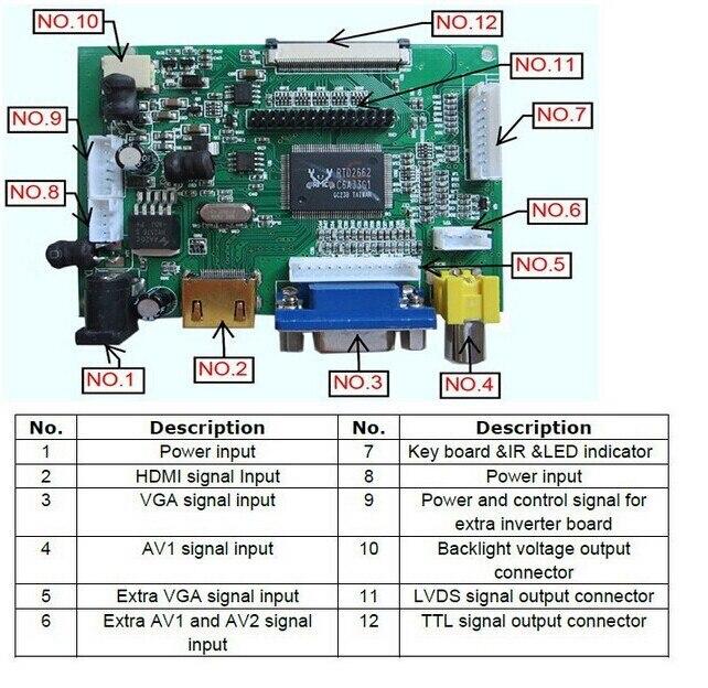 Image 2 - ЖК дисплей ttl LVDS плата контроллера HDMI VGA 2AV 50PIN 800*480 для AT090TN10 AT070TN94 92 90 Поддержка автоматически VSTY2662 V1-in Экраны from Бытовая электроника on AliExpress - 11.11_Double 11_Singles' Day