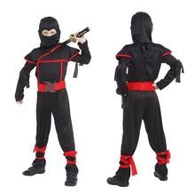 Nero Ninja Costumi Per Bambini Ragazzi Cosplay di Halloween Di Compleanno Del Partito di Fantasia misura 95 150cm di altezza per bambini