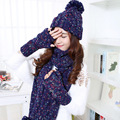 Winter Women Warmer Thicken Scarf Wrap Hat Set Knitted Knitting Girls Collars Skullcaps mix color scarf set scarf cap glove FREE