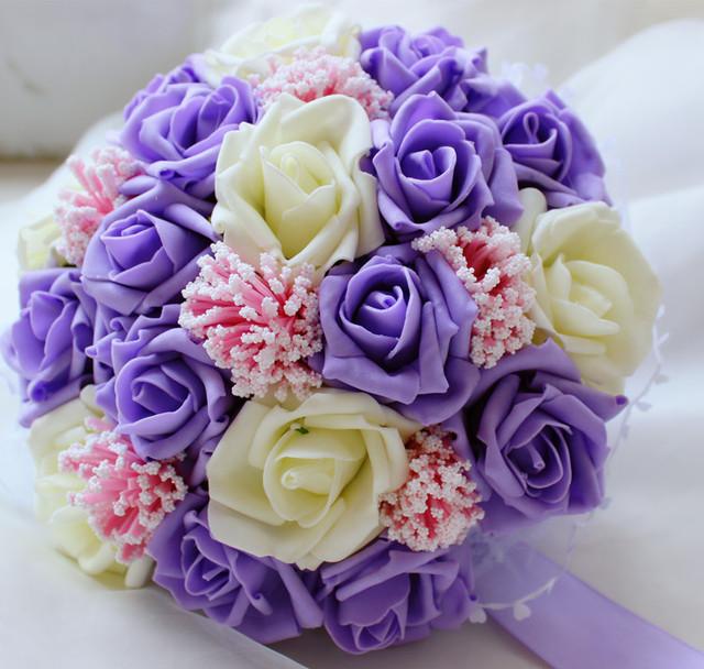 2017 Barato de La Boda/la Dama de honor Nuevo Marfil y Púrpura Rose Ramos Artificiales de mariage Novia Hechos A Mano ramo de la boda