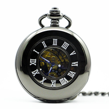 Mechanical Hand Wind Pocket Watch Steampunk Roman Numbers Steel Fob Watches PJX1283