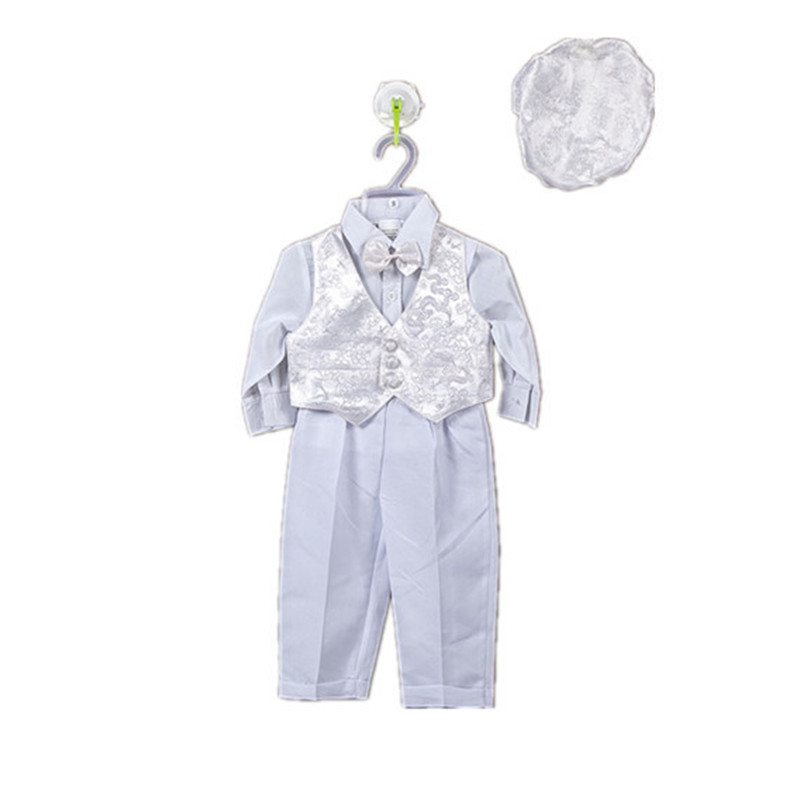 BBWOWLIN 5 Pcs Baby Boy Clothes White Full Sleeve Cotton Christening Baptism Outfit 12M 80685A