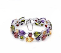 Perfect Gift Shiny Women Jewelry Colorful Fashion Party Holiday Design Shiny Bracelets 925 Sterling Silver Bracelet