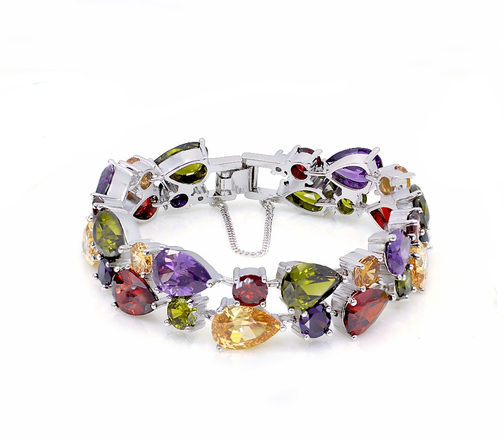 Perfect Gift Shiny Women Jewelry Colorful Fashion Party Holiday Design Shiny Bracelets 925 Sterling Silver Bracelet 7/8 Inch