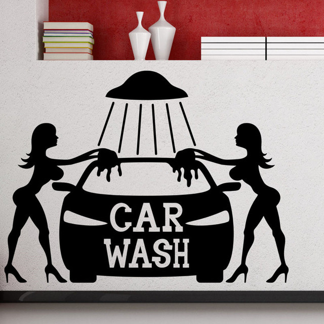 Two sexy girls washing car wall stickers home decor removable auto service wall decals vinyl