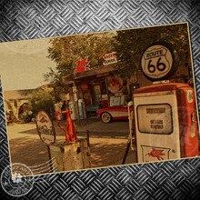 Заправочная Станция ВИНТАЖНЫЙ ПЛАКАТ ROUTE 66 USA картина ретро принт живопись ядро рисунок крафт-бумага Классическая Настенная Наклейка